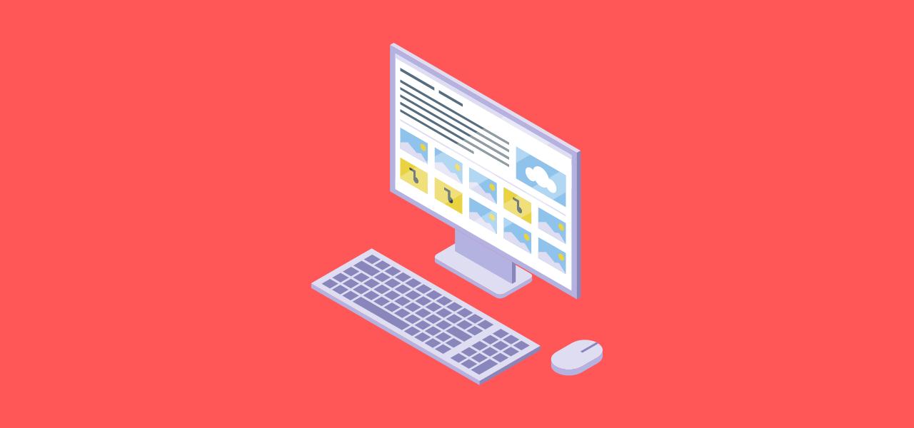 PC med ulike fil-typer på skjermen