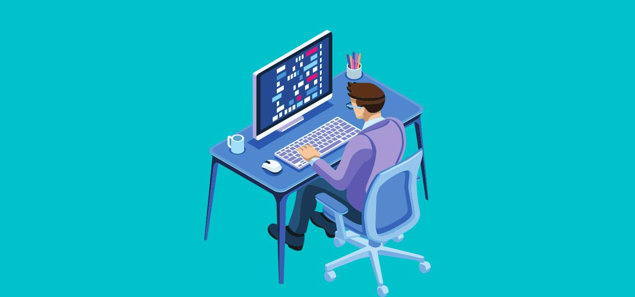 Mann som sitter på PC og lager undertekster med SRT tekstfiler