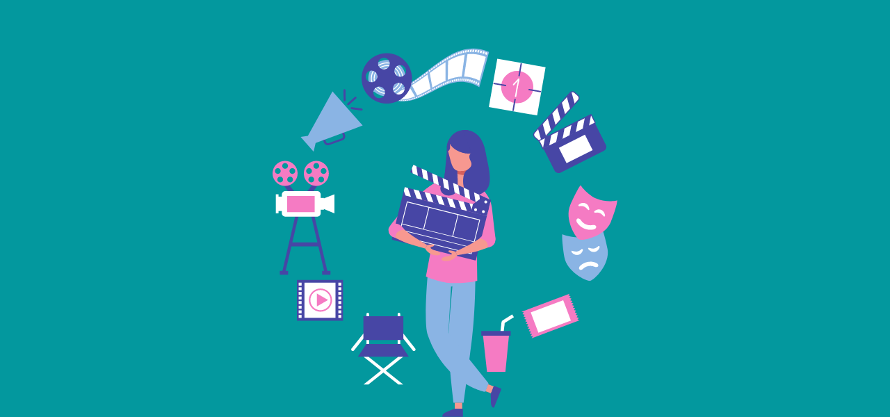 Dame arbeider i filmbransjen