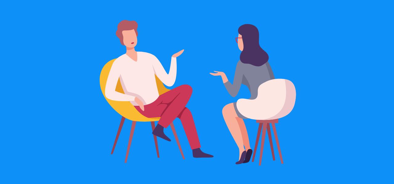 Intervjusamtale mellom to kvinner.